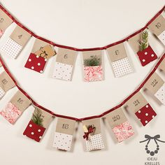 Christmas Bunting Advent Calendar, Linen Advent Calendar in Red, 24 Flags, Hand Made!