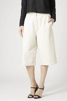 70s summer polished  - Faux Leather Culottes