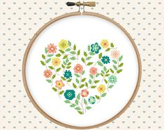 Flower heart cross stitch pattern pdf pillow by GentleFeather More