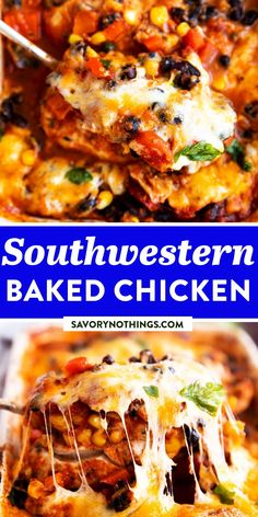 Make this Southwestern Baked Chicken when you're short on time and need a quick dinner. Just dump and go - everything goes into the baking dish and off into the oven! | #chickenfoodrecipes #chickendinner #chickenrecipes #easydinner #easyrecipes #dinnerrecipe #easydinnerrecipe #familydinner #mexicanfood #texmex #chicken Crispy Baked Chicken, Baked Chicken Recipes, Slow Cooker Recipes, Crockpot Recipes, Fast Recipes, Easy Family Dinners, Quick Easy Meals, Delicious Dinner Recipes, Yummy Food