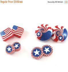SPRING SALE Polymer clay star beads USA flag beads
