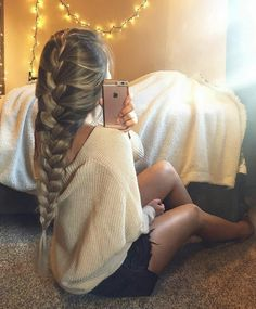 Hair, long, straight, blonde, highlights, half pony, updo, curls, waves, natural, fish tail