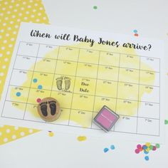 A personalised game sheet for a sweepstake style baby shower game with a handmade baby footprint stamp.This is great entertainment for a baby shower. Guests at the party can choose a date that they think the baby will be born, stamp in their footprints and pop their name in. The game can be for a prize (not supplied), bragging rights or a small prize fund if everyone puts a little wager in (please gamble responsibly!).Once baby has arrived then see who was right or who was the closest.You will a Unique Baby Shower, Baby Shower Fall, Fall Baby, Baby Shower Parties, Baby Showers, Baby Shower Game Prizes, Fun Baby Shower Games, Baby Due Date, Baby Footprints