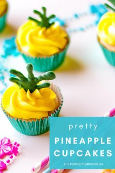 These super cute Pineapple Cupcakes are just the ticket for a tropical luau party! With each bite, you'll taste not only pineapple but coconut and rum too - if you love Pina Coladas then you'll love these scrumptious cupcakes! #PineappleCupcakes #PinaColadaCupcakes #ThePurplePumpkinBlog #Cupcakes #Recipes Baking Cupcakes, Cupcake Recipes, Dessert Recipes, Dessert Ideas, Pineapple Cupcakes, Pineapple Rum, Great Desserts, Delicious Desserts, Purple Pumpkin