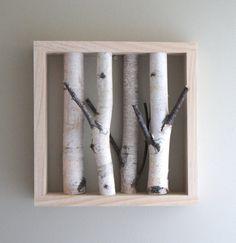 white birch forest - organic white birch wood wall art