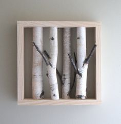 white birch forest - organic white birch wood wall art