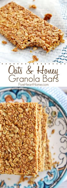 Healthy crunchy granola bar recipe perfect for breakfast-on-the-go or as a wholesome, portable snack! This oats and honey granola bar recipe is a homemade all natural oats that will be loved by the kids! Save this breakfast recipe for later! Healthy Granola Bars, Healthy Bars, Healthy Snacks, Oats And Honey Granola Bars Recipe, Healthy Cereal Bars, Oats Snacks, Healthy Sweets, Homade Granola Bars, Healthy Oat Recipes