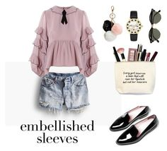 """""""embellished slleves"""" by audreymendonca ❤ liked on Polyvore featuring Levi's, For Love & Lemons, Ray-Ban, Kate Spade, GUESS and embellishedsleeves"""