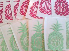 Perfect Bridesmaid gift! This listing is for a DIY Iron On Pocket Monogram Pineapple that you apply to your own tee, tank, pillow, tote bag & more. To order please choose a Size and Color from the drop down menus. This heat transfer vinyl design is one color. 3.5 to 4 inches = pocket monogram size 6 to 9 inches = front or back area of shirt size In Notes at checkout please include initials in order you wish them to appear. Your DIY Iron on Pineapple monogram arrives ready to apply. For…