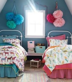 Beautiful Blue and Pink Shared Bedroom