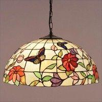 Interiors 1900 TV158L/SU02/3 Butterfly 3 Light Tiffany Pendant