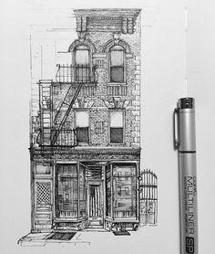 Drawing sketches, art tips, travel sketchbook, building drawing, urban sket Ink Pen Drawings, Drawing Sketches, Cool Drawings, Building Drawing, Building Sketch, Travel Sketchbook, Art Sketchbook, Art Mots, Landscape Drawings