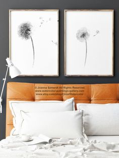 Gray Dandelion Flower Minimalist Painting, Set 2 Black and White Floral Wall Decor, Abstract Dandelion Flower Seeds Living Room Art Print by ColorWatercolor on Etsy https://www.etsy.com/listing/267394489/gray-dandelion-flower-minimalist