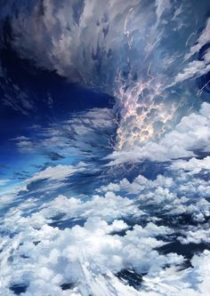 Inspirationally Sane By Art And Music : Photo Fantasy Art Landscapes, Fantasy Landscape, Fantasy Artwork, Landscape Art, Beautiful Landscapes, Landscape Paintings, Anime Scenery Wallpaper, Wallpaper Backgrounds, Sky Anime