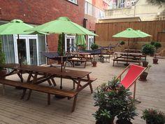 Cute courtyard area in the Wombats hostel in London!