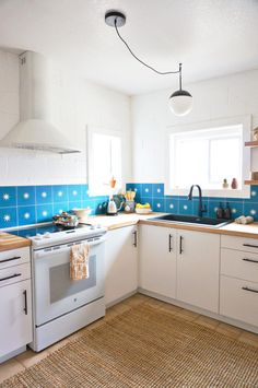 blue tile kitchen backsplash