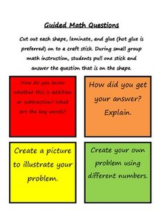 Use these questions during small group instruction in math. Students love selecting a stick from the jar and answering the question that is attache... grade math, classroom math, school, guid math, math questions, math idea, math questioning, 4th grade, guided math groups