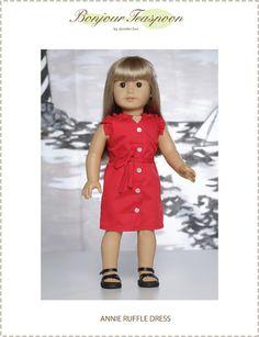 "Annie Ruffle Dress 18"" Doll Clothes Pattern (3/17/2017)"