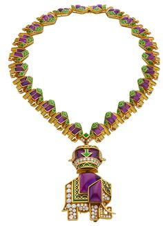 """Geometrical interpretation of elephants in amethyst, round cut diamonds, green enamel, gold; pendant can be removed and worn as a brooch. The gold pendant is a """"an elephant with a bottle of treasure,"""" on a necklace of 24 small elephant-shaped links. Elephant Jewelry, Elephant Bracelet, Graff Jewelry, Jewellery, Style Audacieux, Small Elephant, Bvlgari, Round Cut Diamond, Vintage Costumes"""