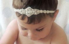 Baby girl christening headpiece flower girl by Tatishotties, $60.00