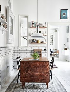 dining table, old chair, dining chair, string shelf, bersa, stig linfberg, pottery, metro tiles, kitchen