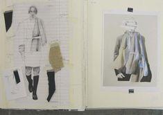 Fashion Sketchbook pages - layout inspiration; fashion design illustration & fabric swatches; fashion portfolio