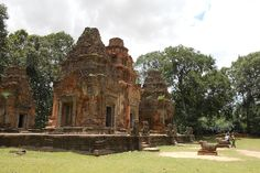 Preah Ko Temple part of Roluos Group in Siem Reap Cambodia Date: 879 AD, Reign: Indravarman I, Religion: Hindu (Shiva)  Read more: http://www.globaltravelmate.com/asia/cambodia/angkor/angkor-temples/532-siem-reap-preah-ko.html#ixzz2Xb1FQ8tY