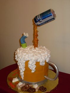 Mike's Beer Mug Birthday Cake white cake (two tiers of 8 in rounds)iced in buttercream,whip -n-ice for the foam,poured sugar on a. Gravity Defying Cake, Gravity Cake, 30 Cake, Beer Bread, Birthday Cakes For Men, Cake Pictures, Novelty Cakes, Savoury Cake, Creative Cakes