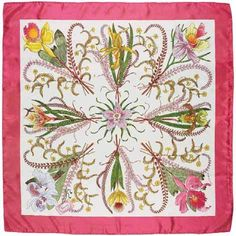 Vittorio Accornero for Gucci Flora Vintage, Gucci Scarf, Silk Scarves, Color Patterns, Purses And Bags, Miniatures, Illustration, Inspiration, Scarfs