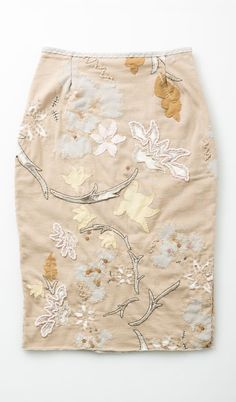 Alabama Chanin Antheia skirt that includes stenciling, applique, reverse applique and embroidery. It looks like a print, but all the elements are applied.