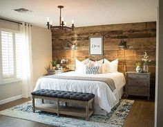 Shiplap wall, wood wall, rustic, farmhouse, bench, gra6 bench, rustic lights, rug, farmhouse, modern country, master bedroom, end table, bed side tables, teal, tan, bedroom colors, black, pillow covers, home decor, diy decor, lamps, bed frame, pillows, b