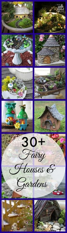 Over 30 fabulous fairy houses and gardens. Be inspired by these amazing DIY crafts to bring the magic of the fairies to your garden. A selection of fairy garden and fairy house tutorials for both children and adults. Over 30 fabulous fairy houses Fairy Crafts, Garden Crafts, Garden Projects, Garden Ideas, Diy Projects, Project Ideas, Fairy Garden Houses, Gnome Garden, Fairies Garden