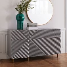Rosanna Ceravolo 6-Drawer Dresser- Mist Gray  Created in collaboration with Melbourne-based designer Rosanna Ceravolo, this nightstand's geometric patterned facade gives it texture and subtle depth. With six roomy drawers, it's a storage piece and a work of art.