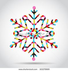 Vector snowflake in abstract style - stock vector