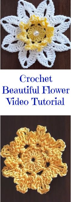 Crochet Beautiful Flower Video Tutorial Hello flower and crochet lovers around the world! Today we have an exclusive video tutorial for you. We hope you. Crochet Puff Flower, Crochet Flower Patterns, Crochet Motif, Irish Crochet, Crochet Lace, Crochet Stitches, Unique Crochet, Beautiful Crochet, Beautiful Flowers