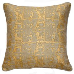 The Ingrid Gold Ruin Decorative Pillow melds luxurious sparkling texture. With an abstract gold design, this plush accessory brings opulence to any bed or sofa. Hand-blocked on linen Includes feather down insert Removable cover Spot clean Imported. Gold Throw Pillows, Gold Cushions, Lounge Cushions, Linen Pillows, Couch Pillows, Accent Pillows, Modern Decorative Pillows, Decorative Accents, Ticking Fabric