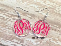 Monogram Acrylic Dangle Earrings, Monogram Earrings, Vine Monogram, Dangle Earrings, Acrylic Earrings, Gift Idea, Mother's Day Gift, Circle by MadeByParris on Etsy Monogram Box, Monogram Earrings, Vinyl Projects, Silhouette Cameo, Cricket, Washer Necklace, Vines, Dangle Earrings, Dangles