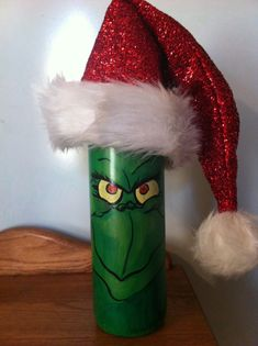 The Grinch repurposed wine bottle. by DailyArtbyJacqueline on Etsy, $20.00