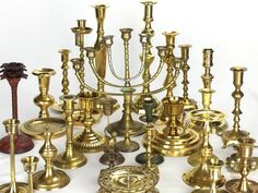 Lot Of 28 Vintage Brass Candlesticks Holders Chamberstick over 22 lb. of Brass