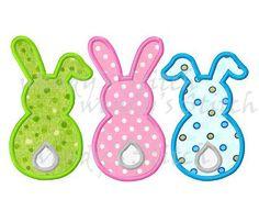 Trois lapins de Pâques lapin applique machine numérique motif de broderie