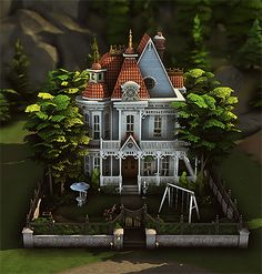 """Lunar Grove - Residential Lot 🌲🌜 """" Hey everyone! I originally planned to put this house in my mini san fran neighborhood build but it was too big so, I decided to put it on its own lot. Sims 4 House Building, Sims House Plans, Tiny Beach House, Clapboard Siding, Pintura Exterior, Sims 4 House Design, Casas The Sims 4, Sims Four, Sims 4 Build"""