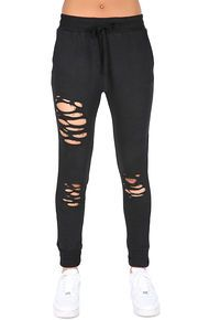 threadhitter The Jessica Destroyed Sweatpants in Black