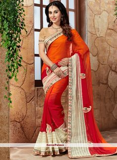 Brown, Cream and Red Embroidered Chiffon Saree Chiffon Saree, Satin Saree, Cotton Saree, Indian Designer Sarees, Designer Sarees Online, Indian Sarees, Designer Dresses, Fancy Sarees, Party Wear Sarees