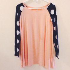 Peach/navy polka dot long sleeve shirt Peach/navy polka dot long sleeve shirt. Long, light, flowy and SO soft! Never worn, new with tags. Tops Tees - Long Sleeve