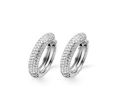 Ti Sento Silver CZ Hoop Earrings Rhodium Plated Sterling Silver CZ Set Hoops 28mm Diameter Reference 7556ZI All Ti Sento Products Arrive In Branded Packaging £175.00