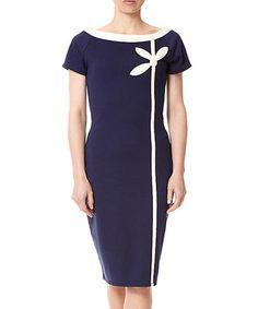 e24b00f4c0d Fever London Navy   Cream Matera Cap-Sleeve Dress