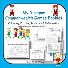 Commonwealth Games Mini Booklet - 26 pages of colouring, activities, puzzles and information. Teaching Resources, Classroom Resources, Classroom Ideas, Baby Boy Cakes, Sport Craft, Commonwealth Games, Australian Curriculum, Camping Games, School Games