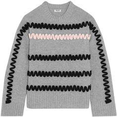 KENZO Appliquéd wool sweater ($495) ❤ liked on Polyvore featuring tops, sweaters, wool tops, wool sweaters, woolen sweater, kenzo and zig zag top