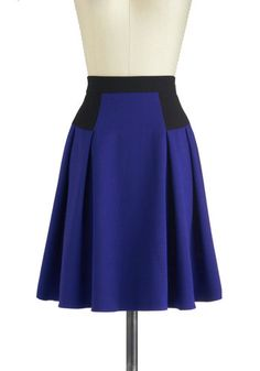 Colorblock This Way Skirt - Blue, Black, Solid, Work, A-line, Mid-length, Pleats