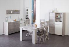 Salle à manger complète blanc laqué design ESMERALDA   Salle à ...